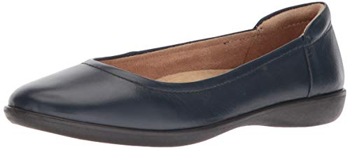Naturalizer Women's Flexy Ballet Flat, Navy Leather, 8 M US