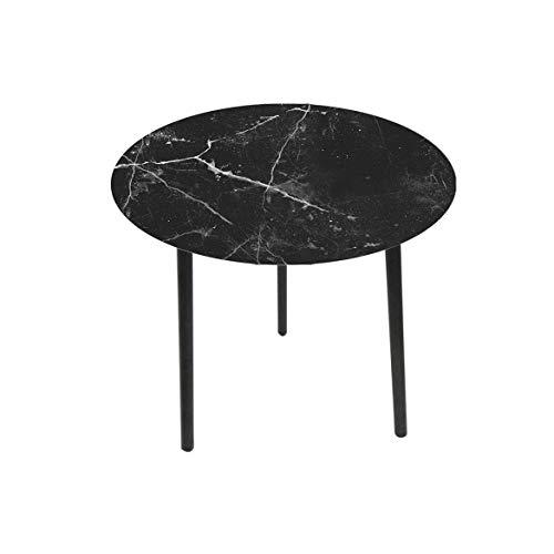 Cara Maison - Tavolino Effetto Marmo con Top in Vetro e Legno Piccolo