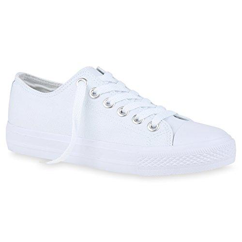 stiefelparadies Bequeme Damen Sneakers Low Cut Canvas Schuhe Basic Schnürer 157989 All Weiss Silber 43 Flandell