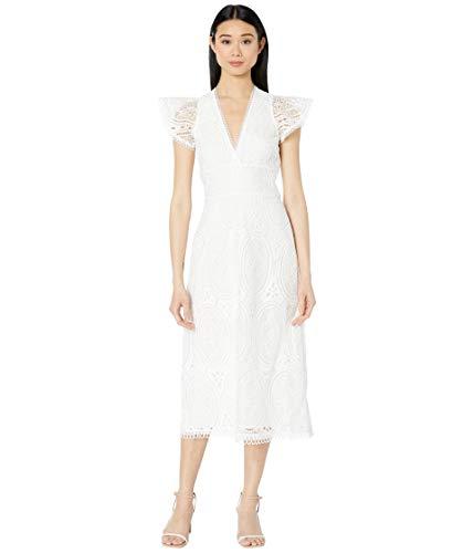 ML Monique Lhuillier Short Sleeve Lace Dress w/Trim Detail White 8