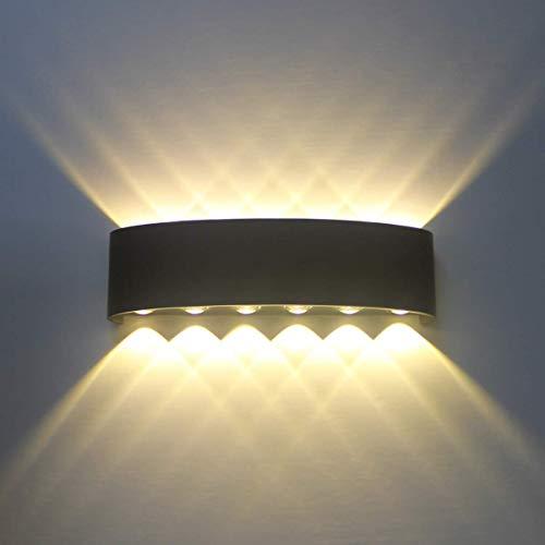 Applique Murale Interieur Noire LED 12W Lampe Murale Moderne, Applique Luminaire En Aluminium, Up Down Spot Lumière Nuit Lampe pour Salon Chambre Hall Escalier Pathway (Blanc chaud)