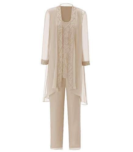 Women's Chiffon Pant Suits Plus Size 3 Pieces with Long Sleeves Jacket Mother of The Bride Dress Pant Suits(Customized Size,Champagne) (Apparel)