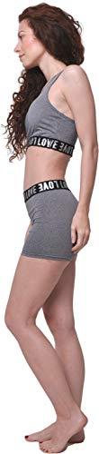 Conjunto Deportivo Letras Estampadas Mujer 2 Piezas 3'' Yoga Shorts de Cintura Alta y Sujetador Deportivo Gym, Gris Claro L-XL