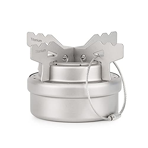 Mini Titanium Alcohol Camping Stove, Portable Camp Stove + Rack Combo Set Burners Outdoor Stove with Lid for Camping Hiking BBQ Cooking Picnic