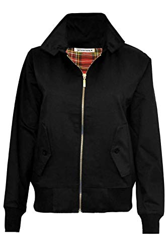 Mens Zipup Classic Trendy 1970's Retro Vintage Bomber Mod Coat Harrington Jacket Black