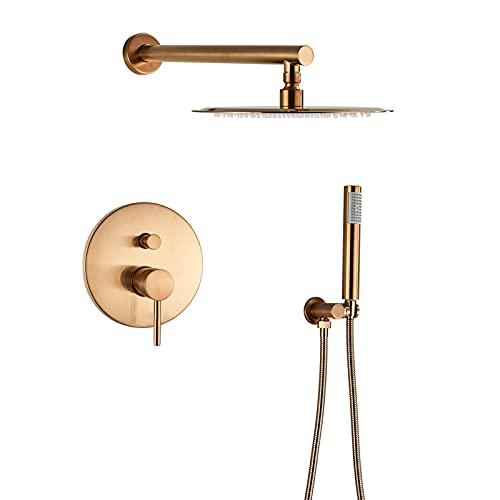Sistema de ducha de oro rosa cepillado, cabezal de ducha de lluvia redondo de 10'con ducha de mano, juego de grifos de ducha de pared con una manija, grifo mezclador de ducha de baño