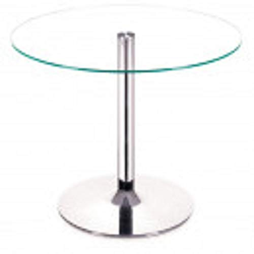 Zuo Modern Galaxy Dining Table, Round Dining Table, Tempered Glass Top, Chromed Steel Tube Center and Base, Chrome Finish