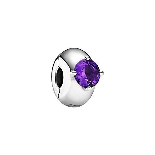 Pandora Colours Purple Round Solitaire Clip Charm Sterling Silver Size: 1.15 cm