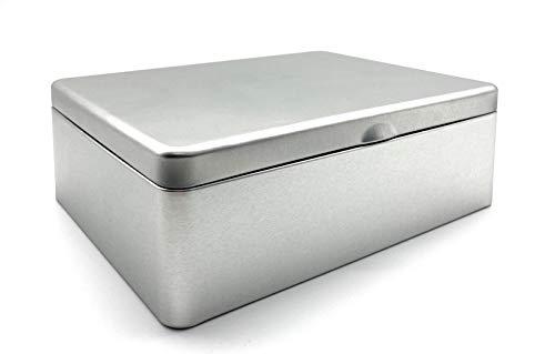 Perfekto24 Caja de té de metal con tapa abatible, lata de té con 6 compartimentos para bolsas de té como caja para bolsas de té y joyero de hojalata, no pierde aroma, color plateado