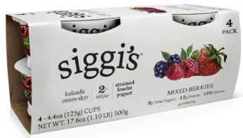 Siggis Mixed Berries Strained Lowfat Yogurt - 4 count per pack -- 4 packs per case.