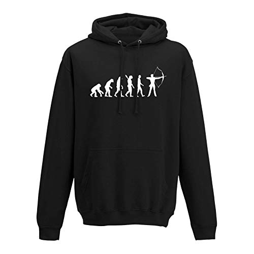 Hoodie Evolution Bogenschütze Kyudo FITA Robin Hood 10 Farben Herren XS - 5XL IFAA DBSV Sport 3D-Schießen Langbogen Zielscheibe Jagd, Größe:4XL, Farbe:schwarz - Logo Weiss