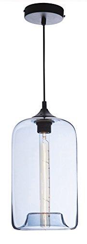Luminaire Soho, suspension verre glossy, 40 W, bleu, ø 28 x H 18 cm