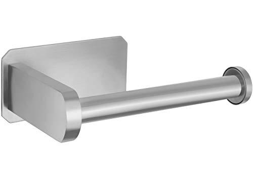 Perfectosan   Toilettenpapierhalter ohne Bohren   Superior-Collection   Modell Tosia   Klopapierhalter zum Kleben   (Edelstahl gebürstet)