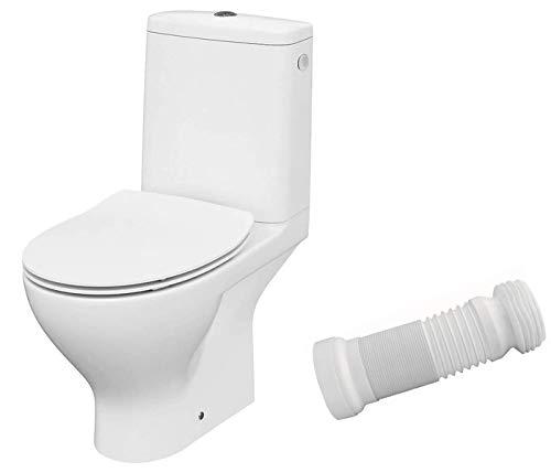 VBChome WC Toilette Stand Spülrandlos Keramik Komplett Set mit Spülkasten WC Sitz aus Duroplast mit Absenkautomatik SoftClose Funktion für waagerechten Abgang Abflussrohr