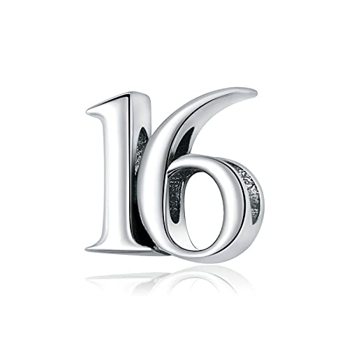 Nummer 16 Charm 925 Sterling Silver Lucky Pendant Lämplig För Damer Originalarmband Halsband Födelsedagsgåva Smycken