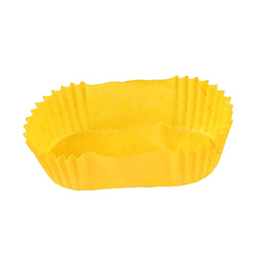 Doitool Tazas para Hornear Ovaladas 1000 Unidades Tazas para Hornear de Papel Elíptico de Ribete Regular Perfectas para Mini Magdalenas Cupcakes O Bocadillos Amarillo