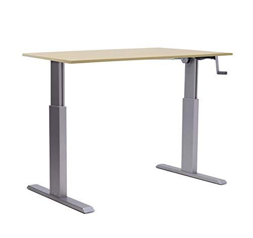 Bürotisch Schreibtisch manuell höhenverstellbar mit Silbernes Gestell Tisch Workstation Produktionstisch Büromöbel ALUFORCE 140 Arbeitstisch Grau (80 x 160 cm)