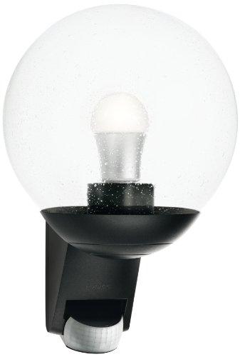 Steinel Außenwandleuchte L 585 schwarz, 180° Bewegungsmelder, Max. 10 m Reichweite, klassisch, mundgeblasenes Glas