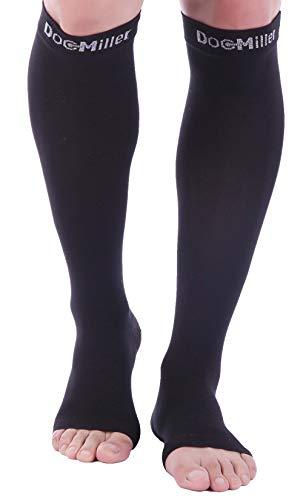 Doc Miller Open Toe Socks – 1 Pair 15-20mmHg Moderate Compression Socks Women & Men Support Stockings Restless Legs Leggings (Black , Large)