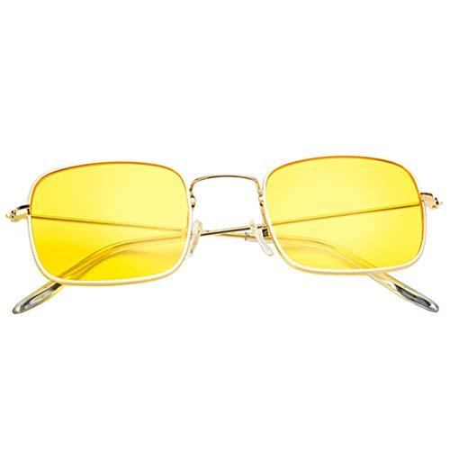 Hakka General Square Zonnebril Geel Lense Zonnebril Goud Trim Zonnebril Mode Unisex-Adult Zonnebril voor Mannen Vrouwen 13*4.5*14cm Geel