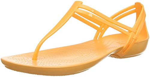 Crocs Damen Isabella T Strap Slip On Sandalen, Orange (Cantaloupe 801), 41/42 EU