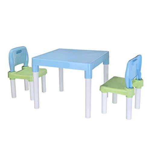 ZXIAQI Kinder Plastiktisch und 2 Stuhlset, mit Buchstaben, Sicherheitspilzbeinen, Abnehmbarem Aktivitätstischstuhl für Kleinkinder Pädagogisches Geschenk,Blau