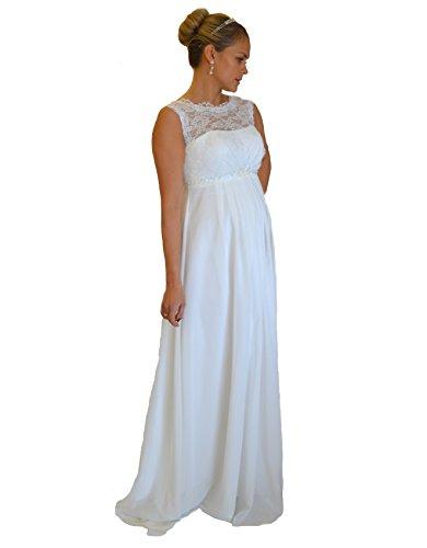 Brautkleid Traum Hochzeitskleid A-Linie Umstandskleid Weiß Ivory Größe 34 bis 52 (48, Weiß)