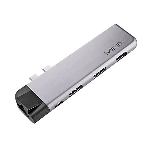 Adaptador multipuerto MINIX Neo C-DHGR, 2 x HDMI 4K @ 60Hz, USB-C PD 3.0 MAX 60W, USB 3.0, Ethernet, Tarjeta SD, microSD Compatible con Apple MacBook Air y Pro