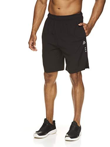 Reebok Men's Lightweight Workout Gym & Running Shorts w/Elastic Drawstring Waistband & Pockets - 9 Inch Inseam - Tigers Eye Black, Large