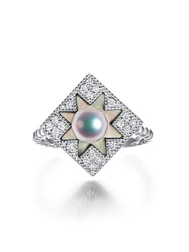 Aeici Verlobungsringe 750 Siegelring Damen Perle Weiß Quadrat Weiß Gold Trauringe Eheringe Größe 52 (16.6)