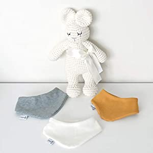 3er Set Halstücher – Hellgrau meliert/Weiß/Senf Baby Junge Baby Mädchen Halstuch Spucktuch Lätzchen