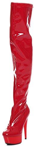 Lack Overknee high Heels Rot oder weiß Gr 36-41 NEU (37, Rot)