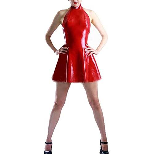 UUKR 12 colores Mujeres PVC A-Line Mini Vestido Sexy Sin mangas Halter Patinador Vestido Hen Party Cumpleaños Vestido Vestido Mirada Mojada Bailar Ropa Club Ropa Club-Rojo_S