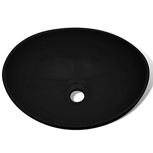 Festnight Keramik Waschtisch Waschbecken Aufsatzwaschbecken Oval Badzimmer Waschzimmer schwarz 40 x 33 cm