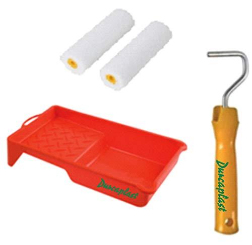 Juego de rodillos de pintura con mango y bandeja: Cubeta de plástico con 2 rodillos de poliuretano de alta densidad (Poro 0). Especial para esmaltar, pintar hierro, madera