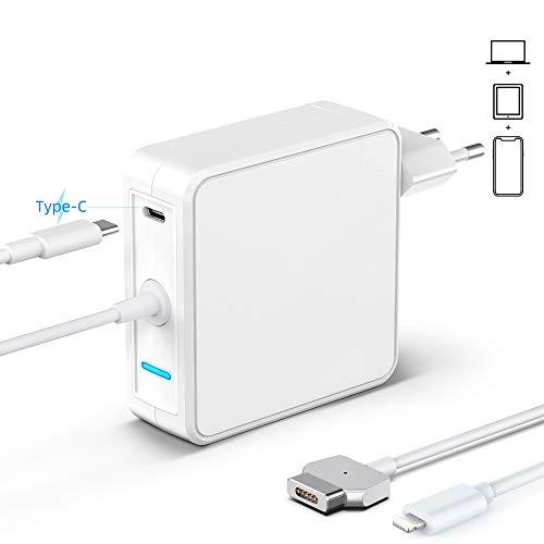SIXNWELL MacBook Pro Ladegerät 60W MagSafe 2 T-förmiges Netzteil, kompatibel mit MacBook Pro Modellen (Ende 2012), mit 18W USB C Schnell PD Ladegerätadapter für iPhone 11/iPad
