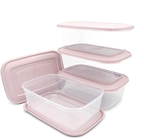 Unishop Set de 5 Recipientes de Plástico para Comida, Fiambreras Sin BPA, Táper Apto para Microondas, Congelador y Lavavajillas, de Colores Pastel (Rosa, 1200ml)