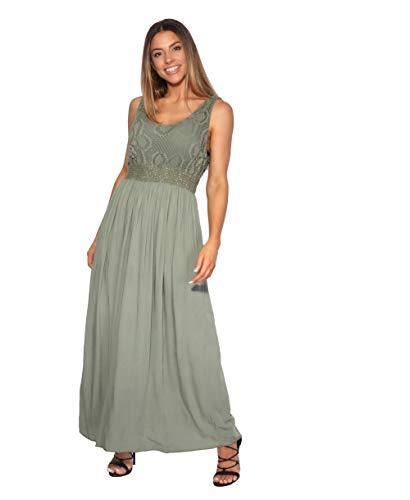 KRISP Damen Bodenlanges Kleid mit Lochmuster, Khaki, M/L, 7091-KHA-ML