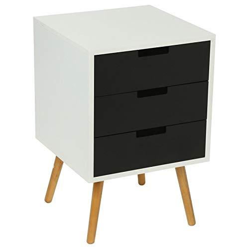 Commode design scandinave 3 tiroirs en bois noir et blanc Elyas (L.40xP.40xH.60cm)