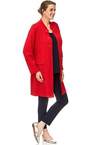 Magna - Elegante Damen Oversize-Jacke mit stylischen Details Jacke Longjacke Gehrock XXL Farbe rot, Größe 48/50