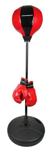 Ultrasport Punching-ball, stand de boxe pour enfants et adolescents, socle lestable avec de l'eau ou du sable, hauteur réglable de 90 à 120 cm, kit de frappe, gants de boxe et aiguille à balle inclus