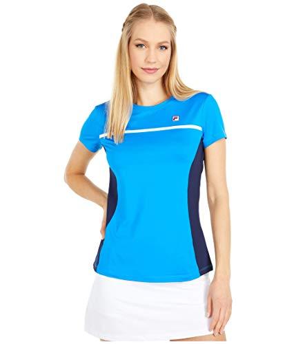 Fila Heritage Tennis Short Sleeve Top Electric Blue/Navy/White LG
