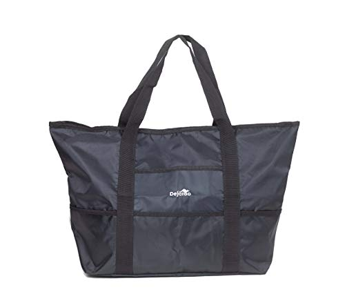 Dejaroo Water-Resistant Weekend Overnight Bag - Beach/Toy Tote Bag - Large Lightweight Market, Grocery & Picnic Tote with Oversized Pockets (Black with Black)