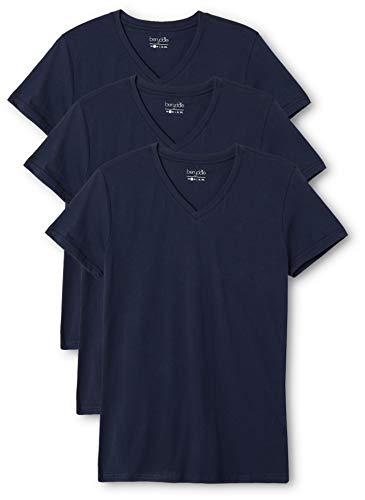 Berydale Damen T-Shirt mit V-Ausschnitt, 3er Pack, Blau (Dunkelblau - 3er Pack) , X-Large
