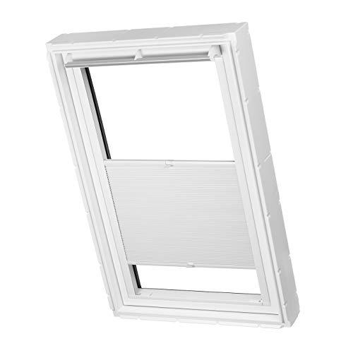 Dachfenster Waben Plissee ohne Bohren passend für Velux Fenster Plisseerollo Faltrollo verspannt Klebemontage (M06/306, Weiß Verdunkelnd)
