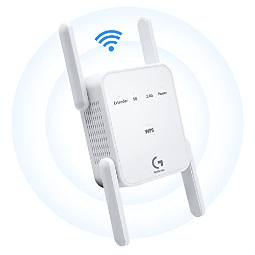 GOBRAN Repetidor WiFi 1200Mbps,Extensor de WiFi Doble Banda 2.4GHz y 5GHz,Amplificador de WiFi con Puerto Ethernet,4 Antenas Externas,Ap/Repeater/Router/Cliente Modos,Cubra la señal hasta 200m²