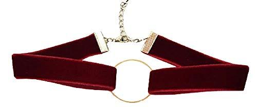 Vrouwelijke kraag - vrouw - vintage - bordeaux - rood fluweel - ketting - kraag - gothic - choker - cirkel - steampunk - origineel cadeau-idee - goud - verjaardag - kerstmis - sieraden