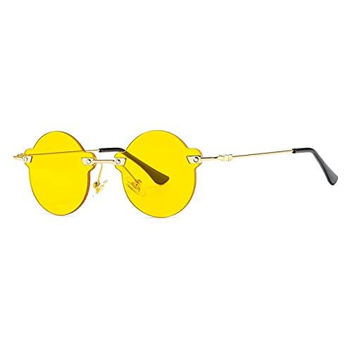 Gafas De Sol Gafas De Sol Redondas Sin Montura para Mujer, Gafas De Sol Negras De Metal Ultraligeras, Moda Femenina, Gafas Uv400 Elegantes, Gafas para Hombre, Tonalidades Doradas Y Amarillas
