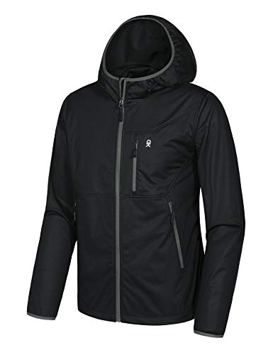 Little Donkey Andy Men's Lightweight Windbreaker, Softshell Jacket with Hood for Running Travel Hiking Black Size XXL