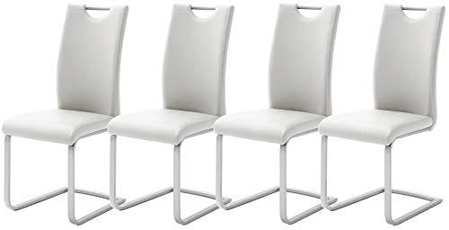 Robas L& PAULO Schwing-/Esszimmerstuhl, PU/Edelstahl, ca. 41 x 103 x 57 cm, weiß, 4er Set